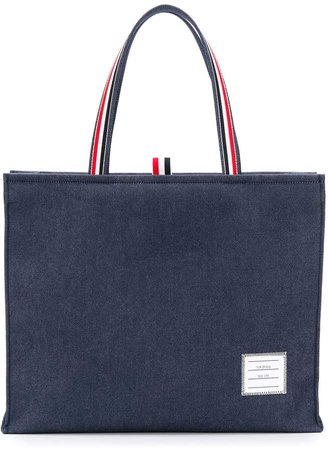Striped Handle Denim Tote