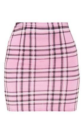 Dusty Pink Check Print Mini Skirt | PrettyLittleThing