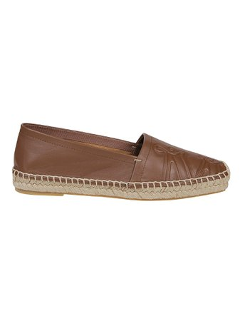 Brown Leather And Raphia Espadrilles