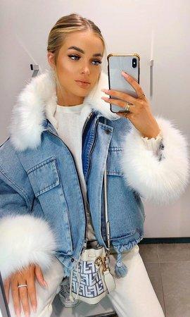 Ski Bunny Blue Denim White Faux Fur Long Sleeve Zipper Drawstring Flap – Indie XO