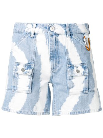 Ganni Tie-Dye Denim Shorts F3585 Blue | Farfetch
