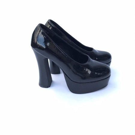 90s Platform Chunky Black High Heel Black patent Leather Size | Etsy