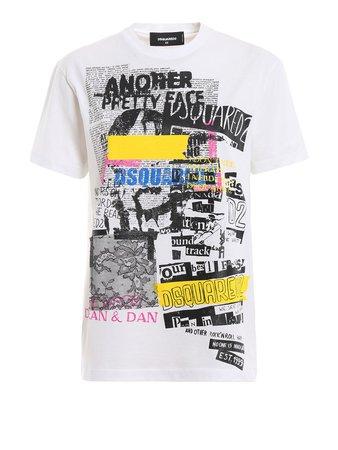 Dsquared2 Graphic Print White Cotton T-shirt