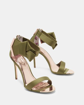 Knotted bow satin sandals - Mid Green   Shoes   Ted Baker UK