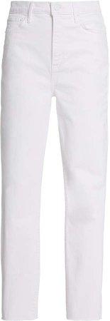 Denim Denim Karolina Frayed Stretch High-Rise Straight-Leg Jeans