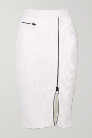 Ribbed Wool-blend Midi Skirt - White