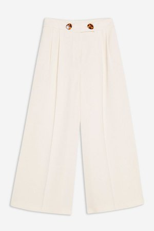 Ivory Cropped Wide Leg Trousers   Topshop