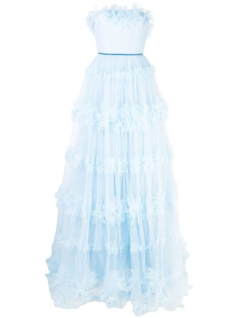 Marchesa Notte Ruffled Tulle Gown