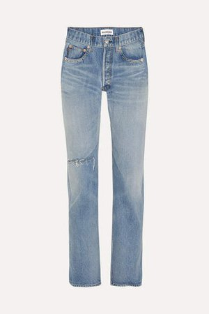 Distressed High-rise Straight-leg Jeans - Blue