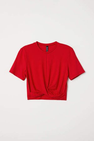 Jersey Top with Knot Detail - Red