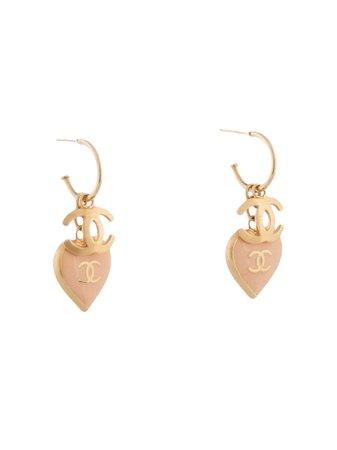 Chanel Pre-Owned 2002 Dangling Heart CC Earrings - Farfetch