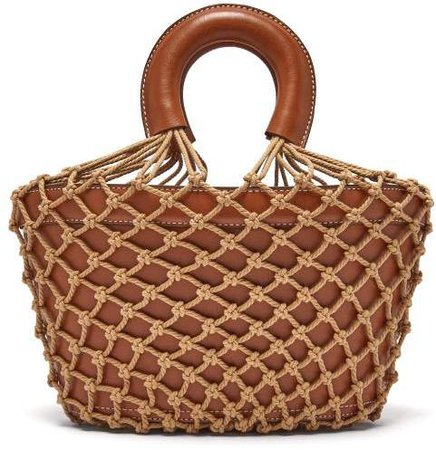 Loni Macrame And Leather Bag - Womens - Brown Multi