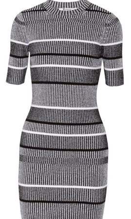 Alexander Wang T by Grey Rib Knit Sleeve Casual Dress