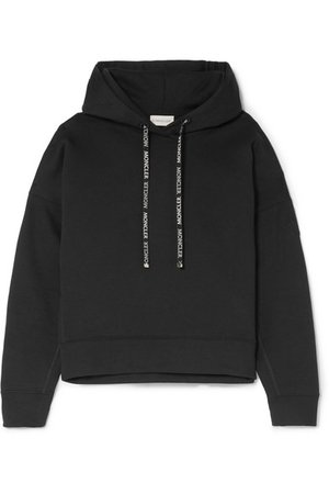 Moncler   Appliquéd cotton-blend terry hoodie   NET-A-PORTER.COM