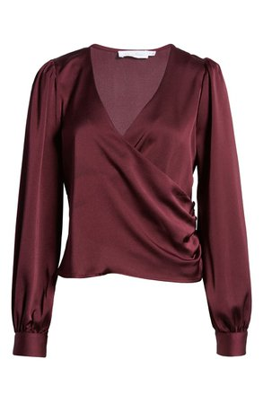 All in Favor Long Sleeve Faux Wrap V-Neck Top | Nordstrom
