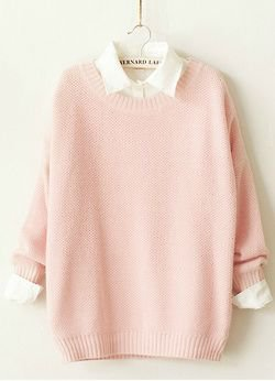 Cute pastel pink sweater with the white collared shirt underneath. | Fashion Drops | Roupas femininas, Roupas vi…
