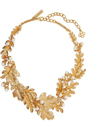 Oscar de la Renta | Gold-tone faux pearl necklace | NET-A-PORTER.COM