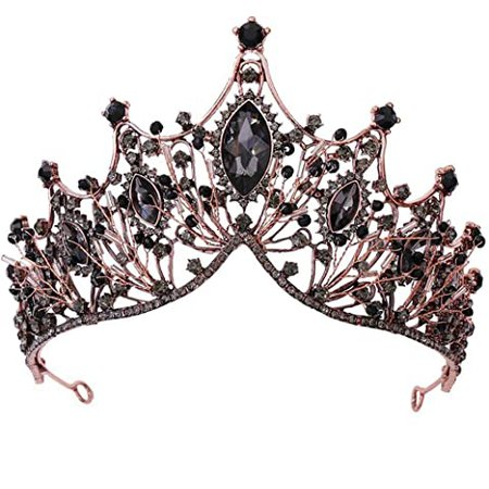 Amazon.com : Zehory Baroque Queen Crowns Crystal Wedding Crowns and Tiaras for Brides Rhinestones PageantBridal Tiaras Princess Prom Hair Accessories for Women and Girls (Black) : Beauty