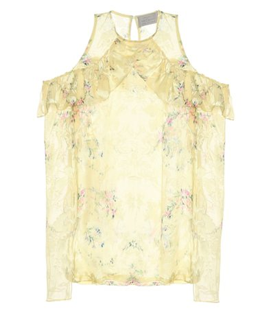 Ana printed silk-blend top