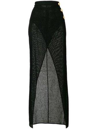 Balmain sheer thigh split skirt $1,217 - Buy SS19 Online - Fast Global Delivery, Price