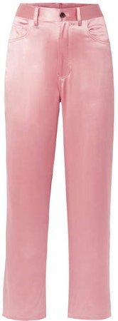 Silk-satin Wide-leg Pants - Baby pink