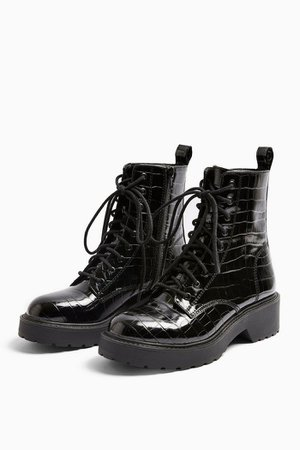 KACY Black Patent Chunky Boots | Topshop