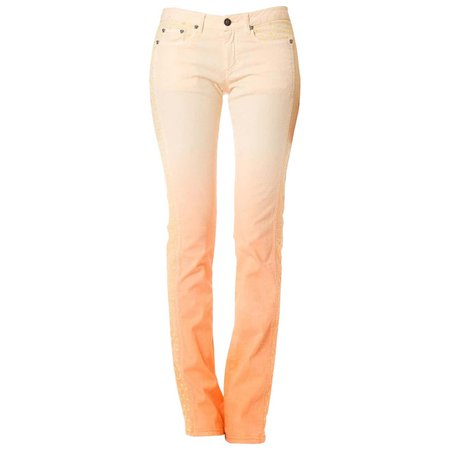 2000S GIANNI VERSACE Orange Ombré Cotton Stretch Jeans With Yellow Embroidery For Sale at 1stDibs
