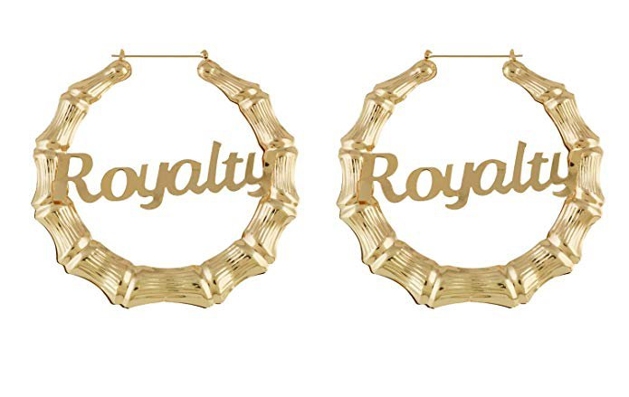 Amazon.com: HONB Gold Tone Hollow Casting Round Bamboo Hoop Earrings (14K Gold Money Moves): Jewelry