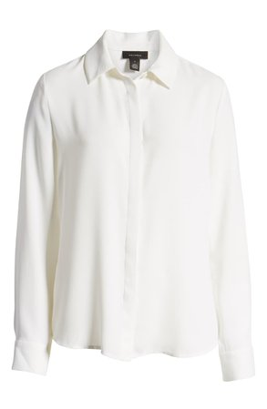 Halogen® Hidden Button Long Sleeve Blouse (Regular & Petite) whiteom