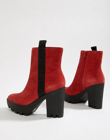 Calvin Klein chunky red suede branded heeled ankle boots | ASOS