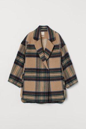 Wool-blend coat - Beige/Checked - Ladies   H&M GB