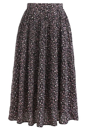 Ditsy Floret Pleated Chiffon Skirt in Black - Retro, Indie and Unique Fashion