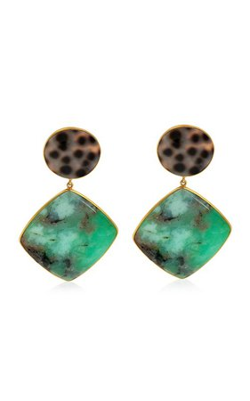 Chrysoprase, Shell 18K Yellow Gold Earrings by Bahina | Moda Operandi
