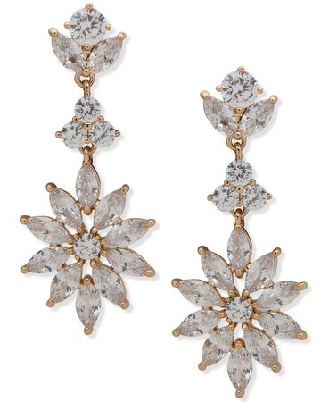 Anne Klein Crystal Starburst Linear Earrings & Reviews - Earrings - Jewelry & Watches - Macy's