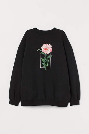 Sweatshirt with Graphic Print - Black