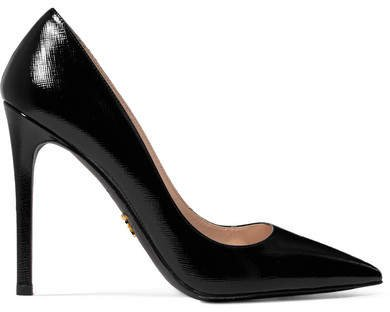 Glossed Textured-leather Pumps - Black