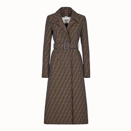 Brown canvas trench coat - OVERCOAT | Fendi