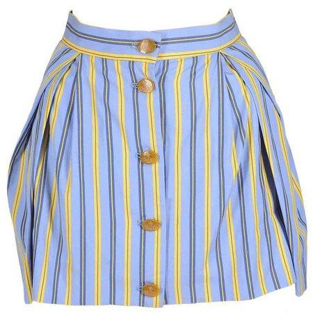 Vivienne Westwood Blue Cotton Striped Button Up Mini Skirt, Yellow