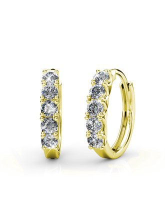 Time and Tru - Imitation Gold rounded square cast setting fishhook earrings with glass crystal stone center. - Walmart.com - Walmart.com