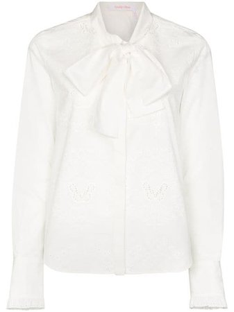 See By Chloé Embroidered pussy-bow Blouse - Farfetch