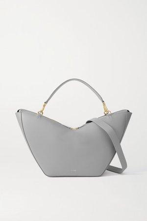 Tulip Large Leather Shoulder Bag - Gray