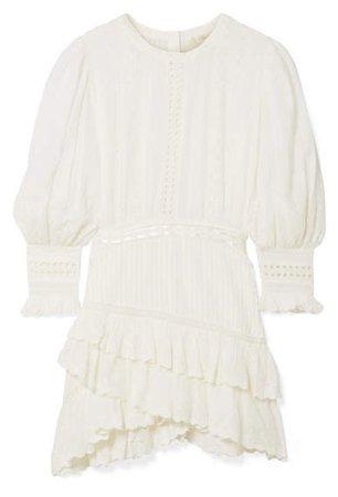Lorelei Tiered Broderie Anglaise Cotton-gauze Mini Dress - White