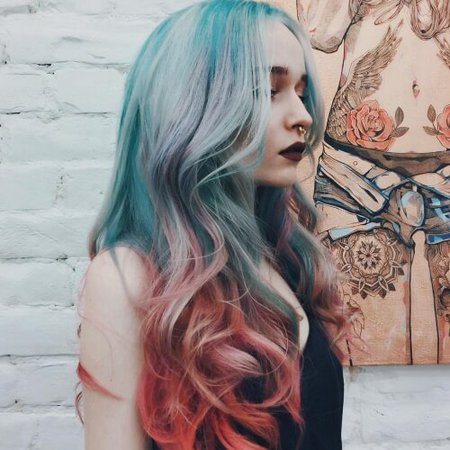 Blue and red hair