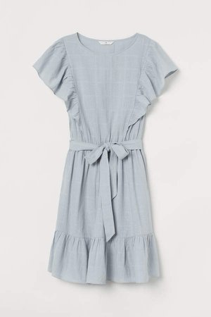 Flounce-trimmed Dress - Turquoise