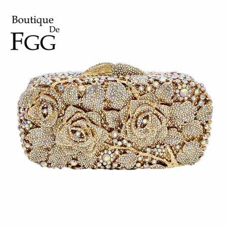 Bridal Metal Clutch Floral Rose Bag Women Crystal Gold Evening Bag Wedding Party Handbags Purse Lady Diamond Rhinestone Clutches Y18102204 Overnight Bags Black Bags From Gou04, $130.34| DHgate.Com