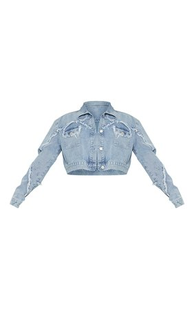 Light Blue Wash Seam Detail Denim Jacket | PrettyLittleThing USA
