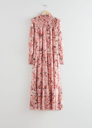 Smocked Maxi Dress - Pink Florals - Maxi dresses - & Other Stories