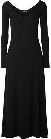Cotton-jersey Midi Dress - Black