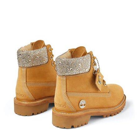 Wheat Nubuck Leather Boots with Crystal Collar | JC X TIMBERLAND/F | JIMMY CHOO X TIMBERLAND | JIMMY CHOO