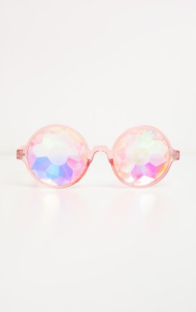 Pink Iridescent Faceted Glasses | Accessories | PrettyLittleThing USA